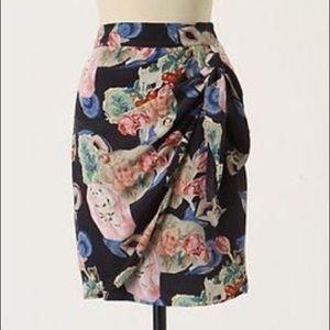 Anthro Rebekah Maysles Victorian cat silk skirt 14